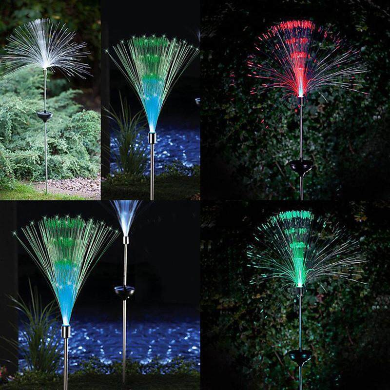 Malonestore 2pc Solar Fiber Lawn Lamp Led Outdoor Decorative Lawn Lights Colorful Disc Fiber By Malonestore.