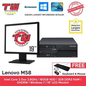 Lenovo M58 Core 2 Duo 2.8GHz / 2GB RAM / 160GB HDD / Windows 7 (SFF) Desktop PC / 19 LCD Monitor / 3 Months Warranty (Factory Refurbished)