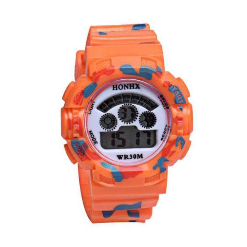HONHX Sport Cute Kids Watch Children Watches LED Cartoon Silicone Quartz Digital Watch Colour:Orange Malaysia