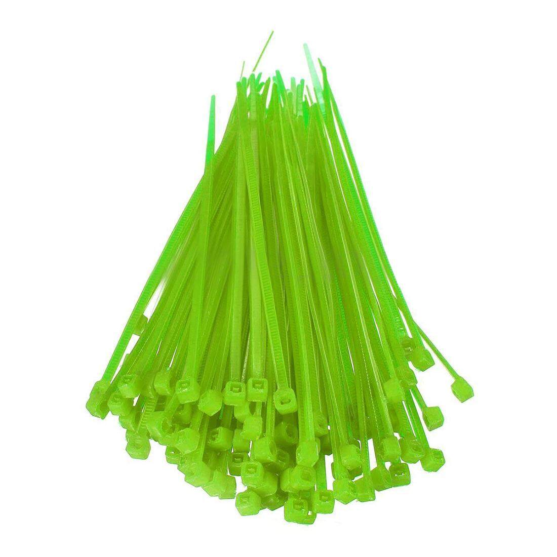 100X 2.5mmx100mm Nylon Cable Wire Zip Ties Cord Wrap Strap Color:Green
