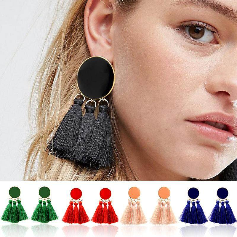 Women Girl Fashion Rhinestone Long Tassel Dangle Earrings Fringe Drop Earrings* Beads & Jewelry Making Fashion Jewelry