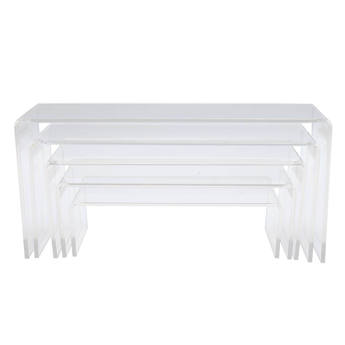5pcs Clear Acrylic Perspex Sturdy Jewellery Display Riser Set Stand Showcase 4mm By Glimmer.