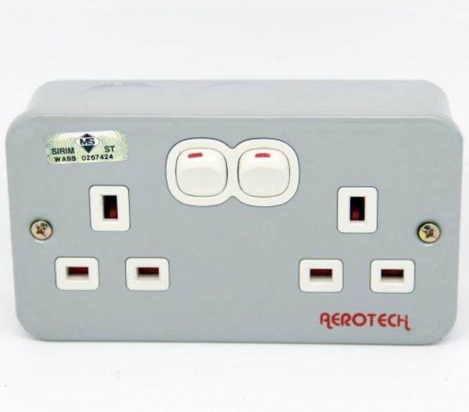 Sirim Approved Double Metal Switch Socket 13Amp 2 Gang SUM / UMS / Aerotech