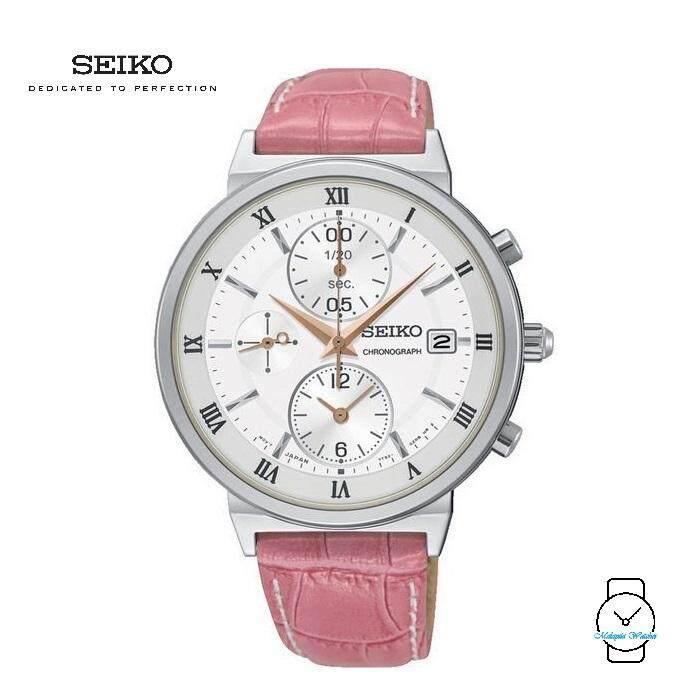 77783b8cb50 Seiko Ladies SNDV35P1 Chronograph Leather Watch