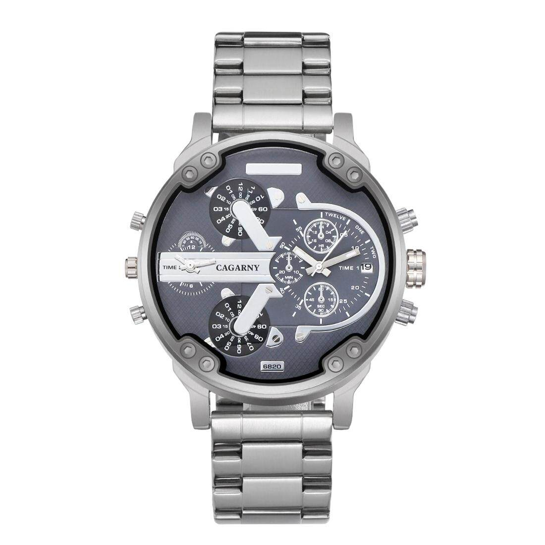 CAGARNY 6820 Fashionable Business Style Large Dial Dual Time Zone Quartz Movement Wrist Watch with Stainless Steel Band and Calendar Function for Men(Silver Band Grey Window) Malaysia