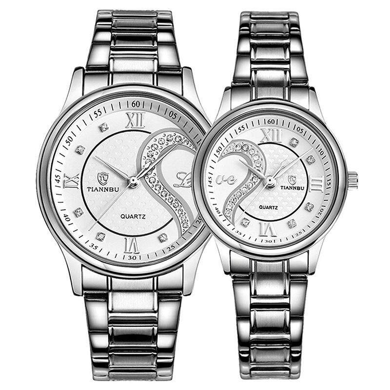 TIANNBU Couple Watches Quartz Waterproof Wrist watches for Lovers Pair white Dial Stainless Steel Band Malaysia