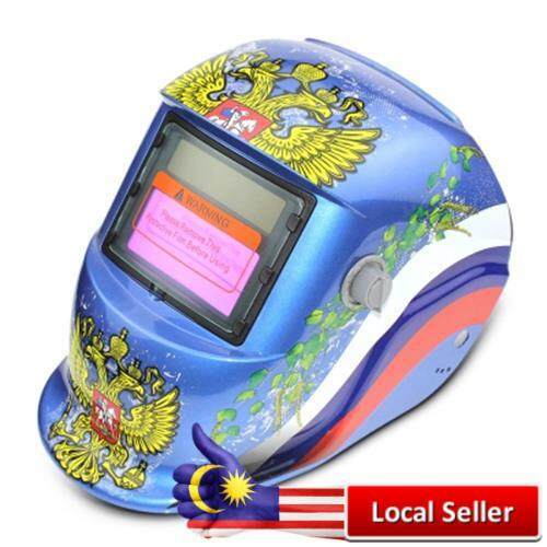 DOUBLE-HEADED EAGLE PATTERN AUTOMATIC VARIABLE LIGHT ELECTRIC WELDING PROTECTIVE MASK (BLUE)