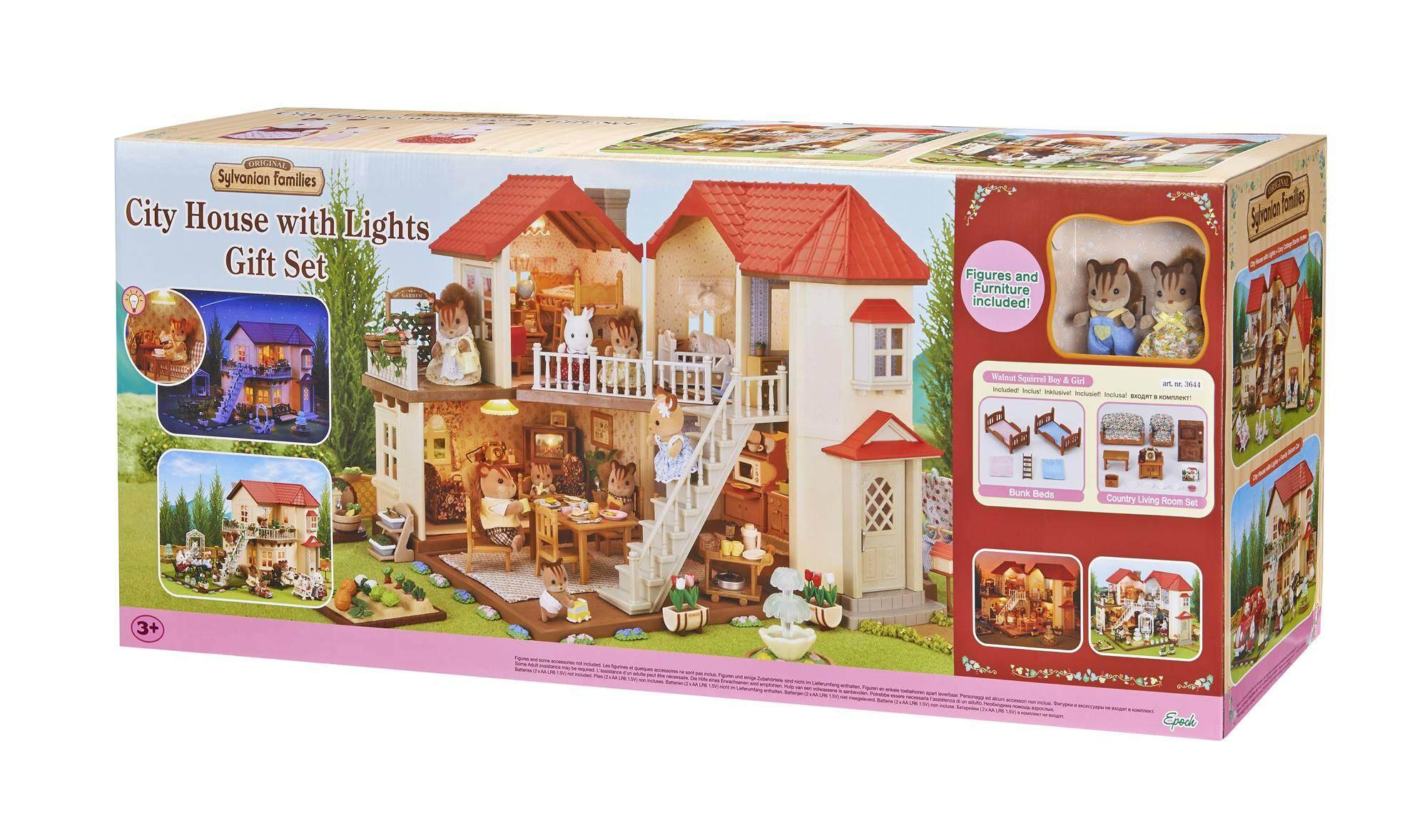 Sylvanian families city house with lights gift set g3644