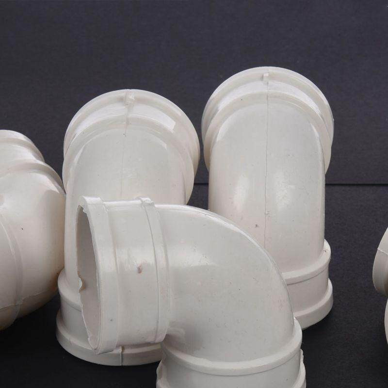 5 Pcs 50mm Inner Diameter 90 Degree Elbow PVC Pipe Connectors Fittings White