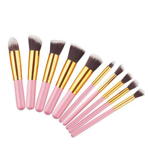 10pcs Multi Function Mini Makeup Kabuki Brush Set - Pink Gold By Glamhouse.