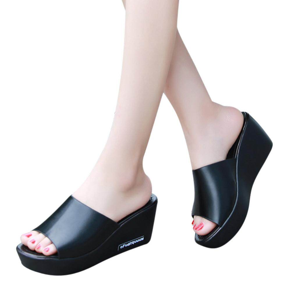 4ecfc16744c7 Casual Women Fish mouth Platform High Heels Sandals Slope Sandals Slippers