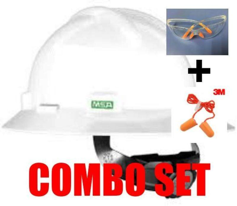 MSA HELMET V-GARD PROTECTIVE HAT WHITE W/RATCHET HARDNESS(ORIGINAL USA) c/w Safety Glass & 3M 1110 CORDED FOAM EAR PLUGS (COMBO SET)