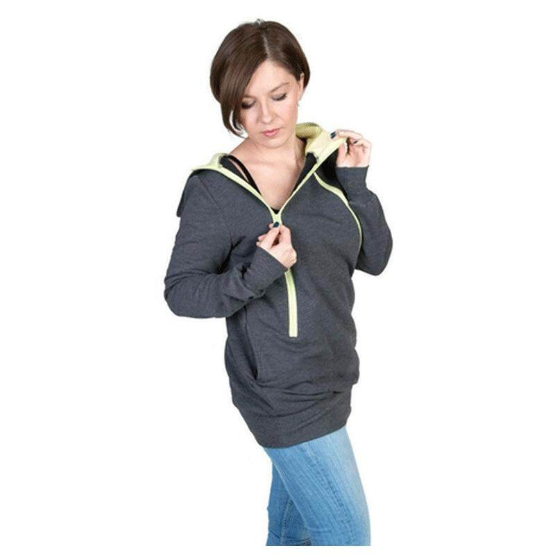 Womans New Fashion Autumn Style Maternity Pregnancy Hoodies Carry Baby Sweatshirt Mom Zipper Coat(dark Grey,xxl/us-12/uk-16) By Shakeshake.