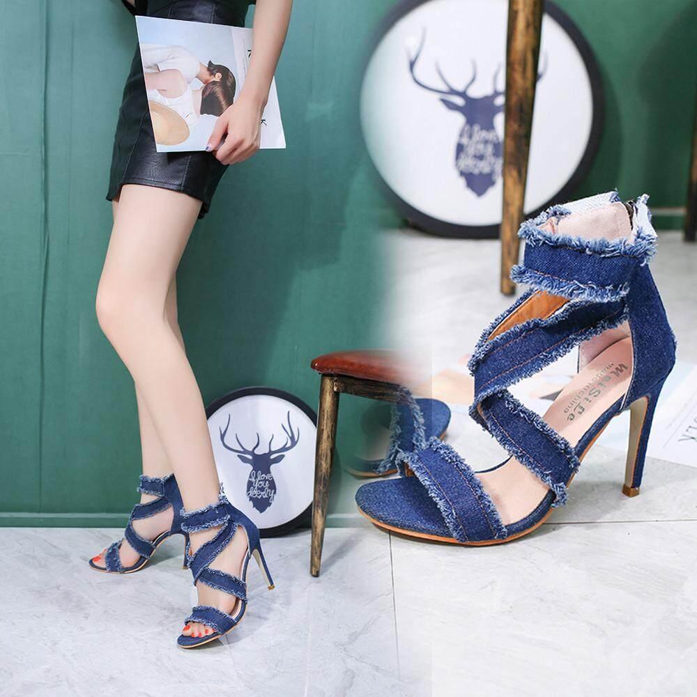 Ladies Shoes For The Best Price In Malaysia Flat Lady Jelly Sepatu Sendal Wanita Auburyshop Women Fashion Solid Denim Fine Heel Pointed Toe Zipper High Heeled Blue