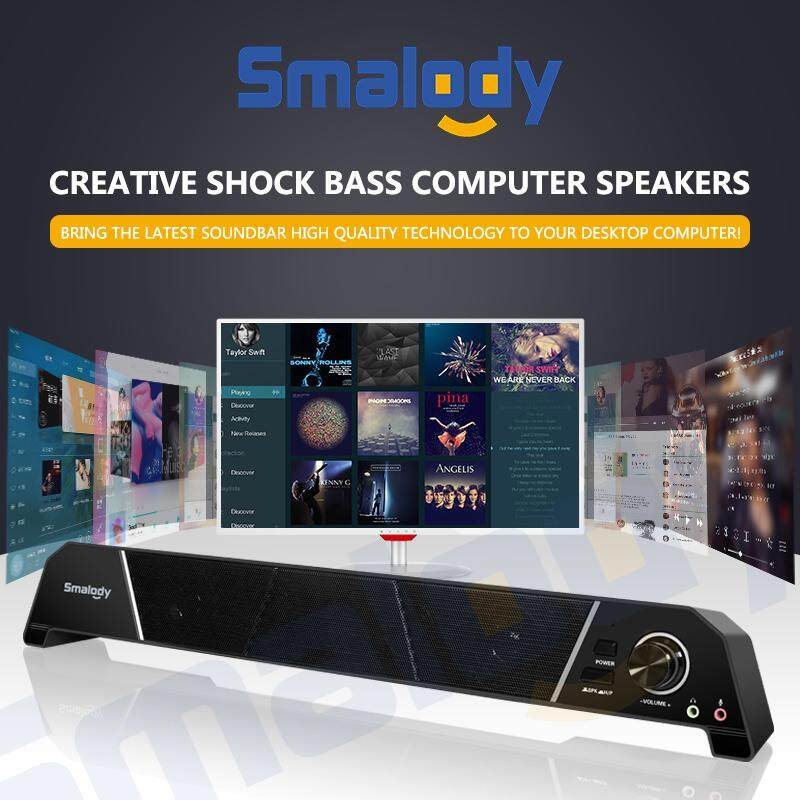 Smalody Portable 8W Black Speaker Home HIFI Stereo Bass Audio Soundbar with Subwoofer Speaker Soundbox for PC Phone Projectors Malaysia