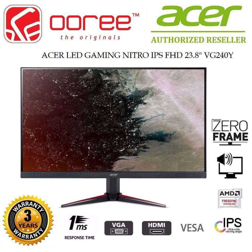 ACER 23.8 VG240Y LED FLAT HD READY (RESOLUTION: 1920x1080) IPS LCD MONITOR (1MS RESPONSE TIME, VGA + HDMI*2 INPUT, 2W SPEAKER x2, VESA WALL MOUNT) (UM.QV0SM.003) 3YEARS ONSITE WARRANTY, BLACK COLOUR Malaysia