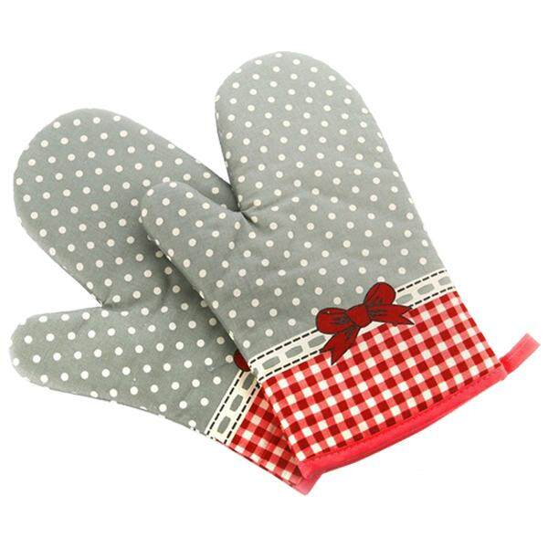 New Floral Print Oven Pot Holder Baking Cooking Mitts Heat Resistant Cotton Glove Single Gray + red