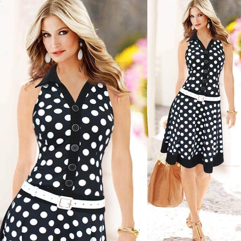 Women Fashion Polka Dot Sleeveless V-Neck Print Dress One-Piece Dresses Bk/s Mml By Meng Meng Lin.