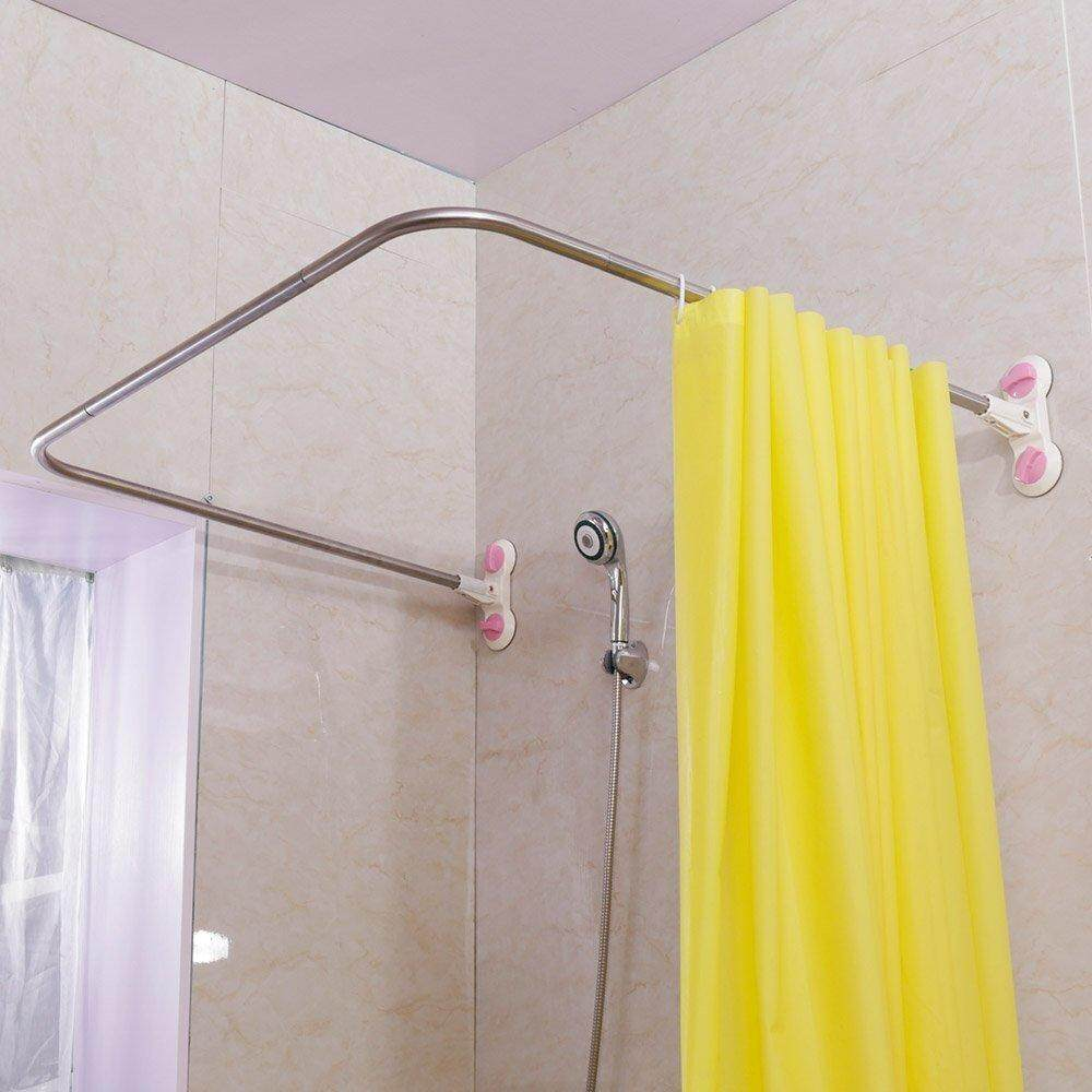 Baoyouni Bathroom U Shaped Corner Shower Curtain Rod Pole, Decorative Curved Bath Curtain Rail Bar With Suction Cup 38.5 X 40 By Baoyouni Home And Living.