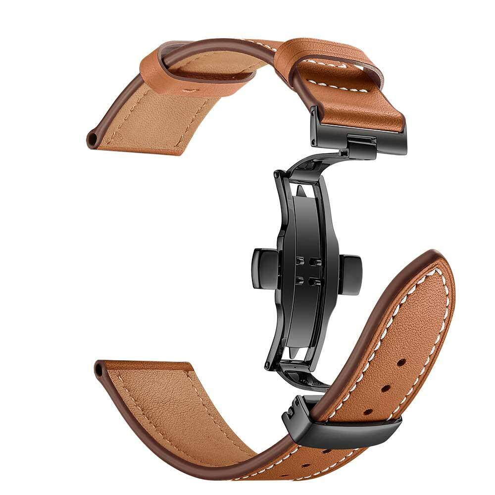 Black Butterfly Buckle Leather Wrist Watch Strap Band For Apple Watch 4 44mm By Kosekylin.
