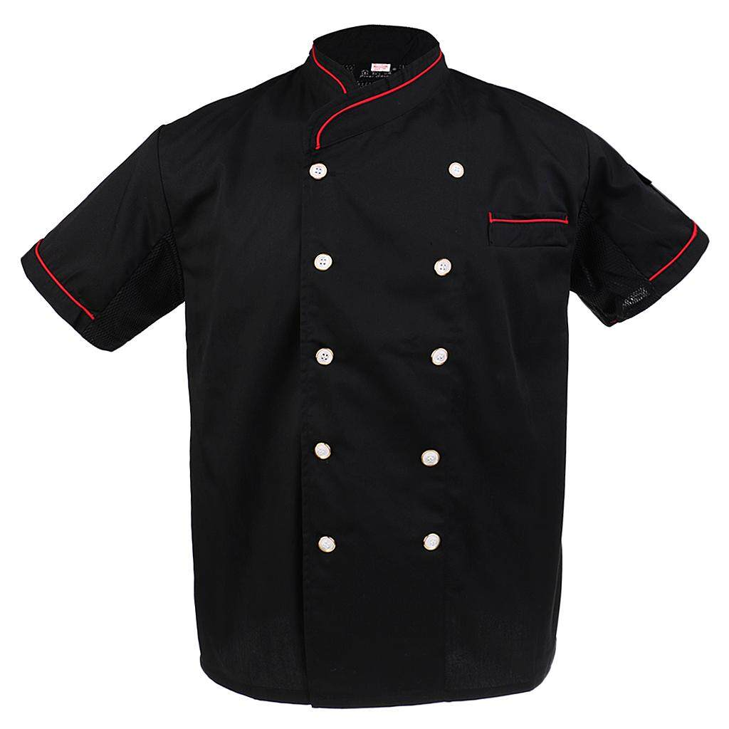 MagiDeal Unisex Chef Jackets Waiter Coat Short Sleeves Chef Uniforms Back Mesh 2XL Red
