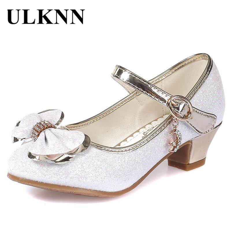Girls Dress Shoes Bow Knot Girls Sandals For Children High Heel Kids Wedding Shoes Soft Leather White Sandalia Infantil By Longze.