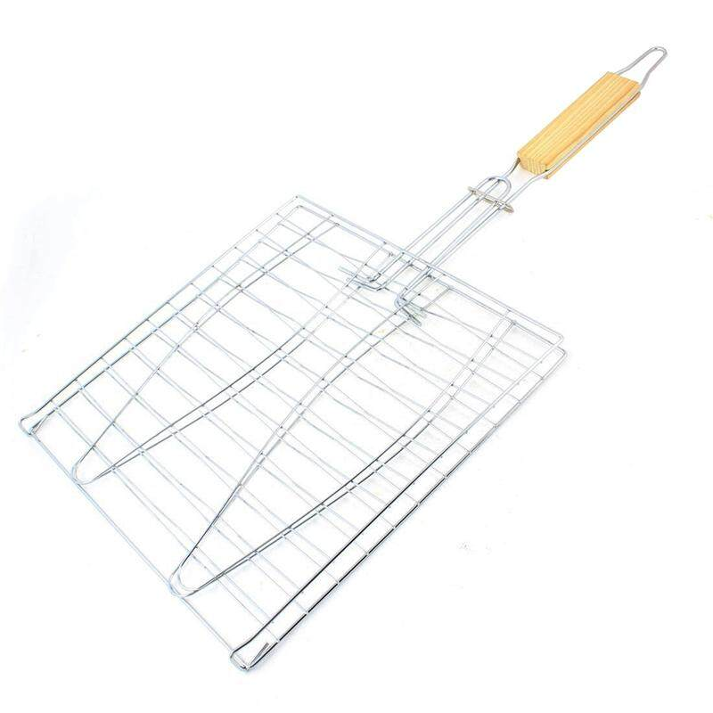 Fish grill basket Barbecue wire mesh clip Basket Smoker BBQ Grill Cooking and Outdoor Backyard 24 x 24 cm
