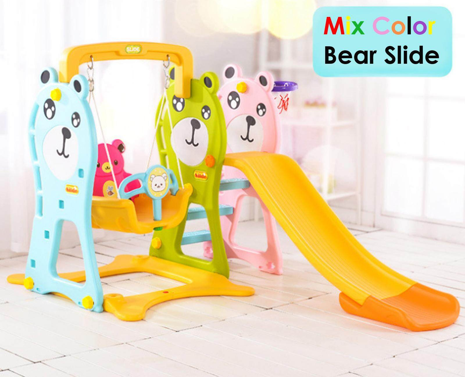 Nava Diy 3 In 1 Colorful Bear Indoor Swing Slide For Kids And Basketball Extended Version