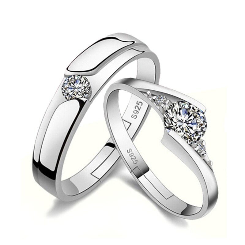 58bf7d4d31 Product details of Lovers Fashion Silver Couple Rings Adjustable Diamond  Wedding Ring Engagement Jewelry