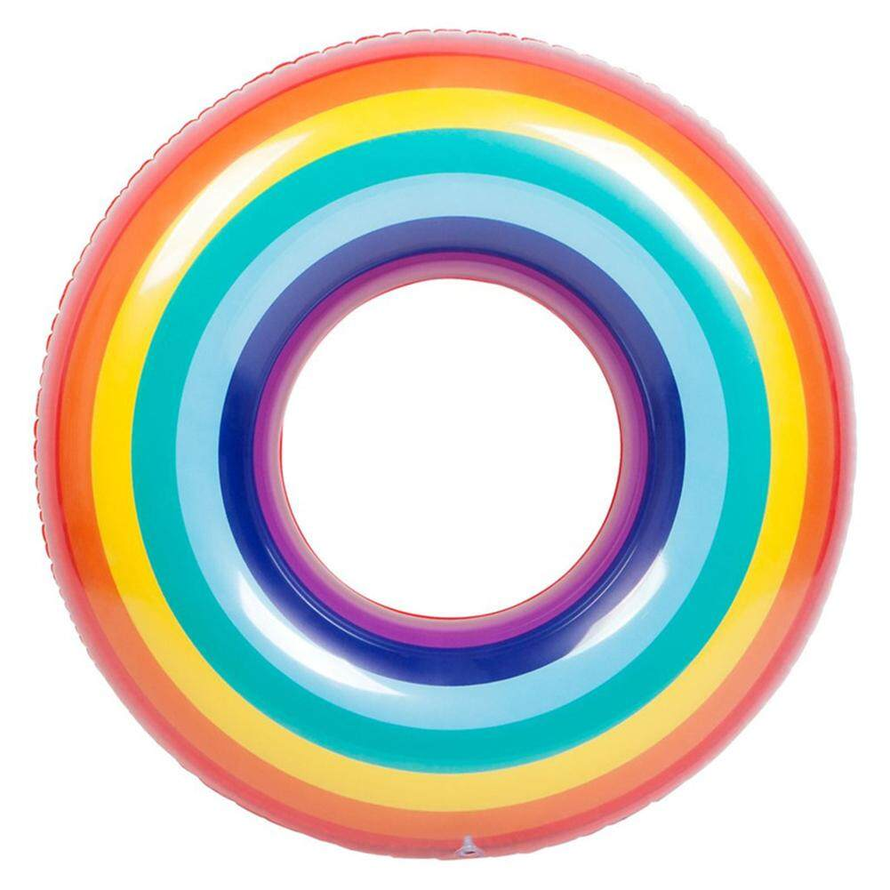 Adults/children Safety Pvc Inflatable Swimming Ring Colorful Rainbow Design Floating Life Buoy Style:90cm By Outop Store.