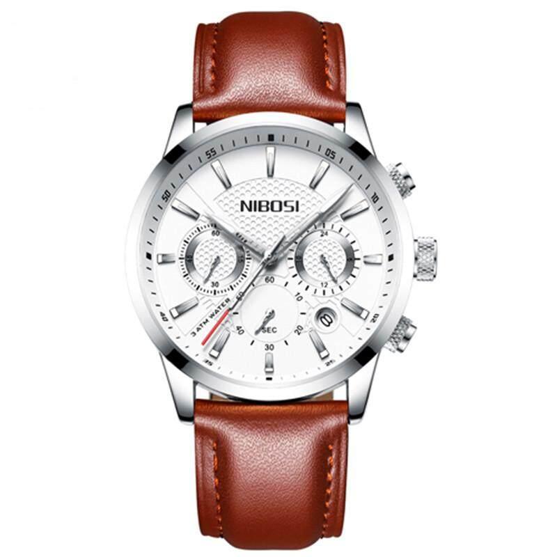 Homester Nibosi MenS Quartz Watches 30M Waterproof Watch Fahsion Casual Calendar Men Wristwatches + 2 PCS Free Gift (Women Fashion Diamond Love Bracelet + Mens Casual Leather Bracelet ) Malaysia