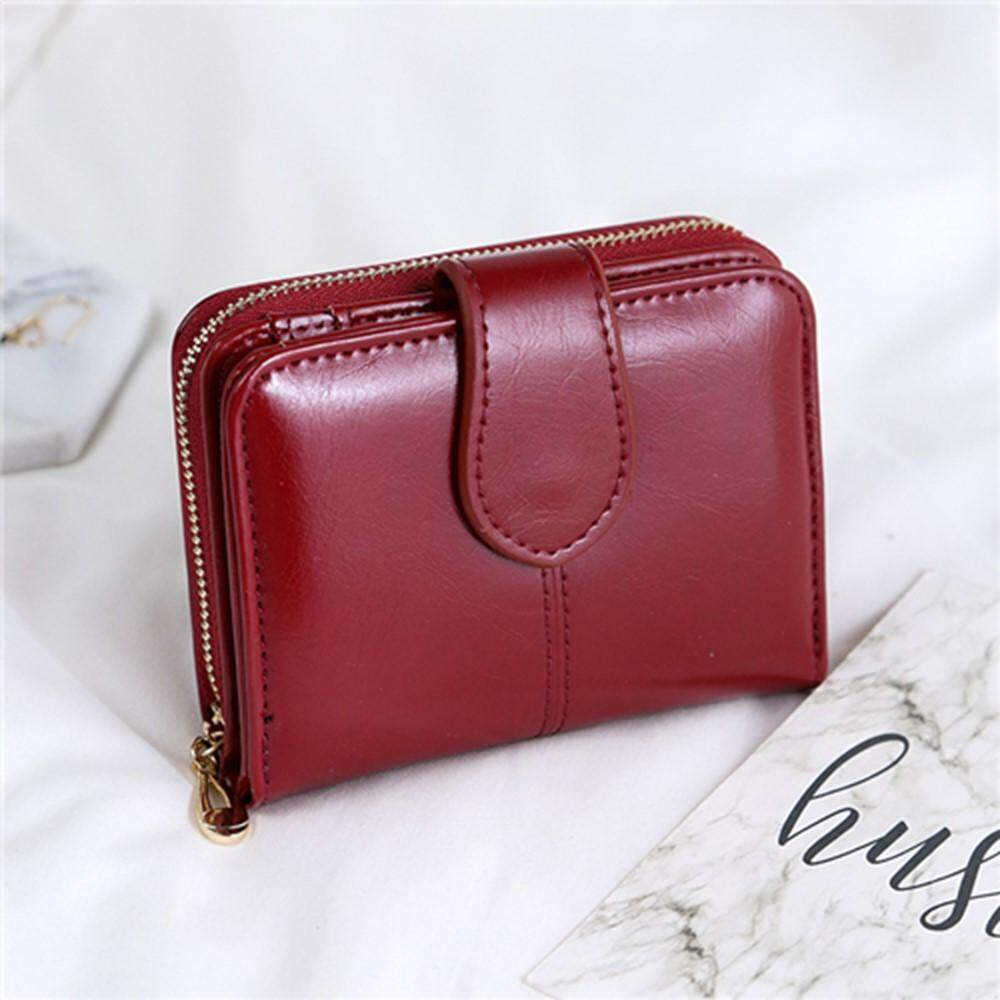 4gl Fashion Lady 1615 Oil Wax Leather Short Purse Wallet Wallets Bag Beg Women By 4greenleaf.