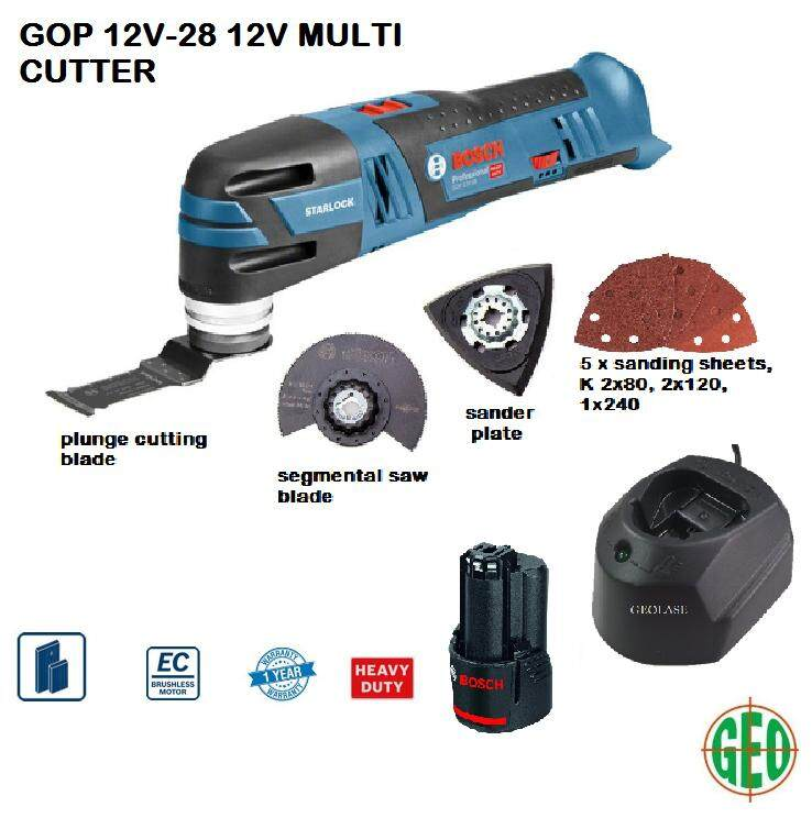 BOSCH HEAVY DUTY 12V MULTI CUTTER WITH ACCESSORIES AND BATTERY GOP 12V-28 [ GEOLASER ]