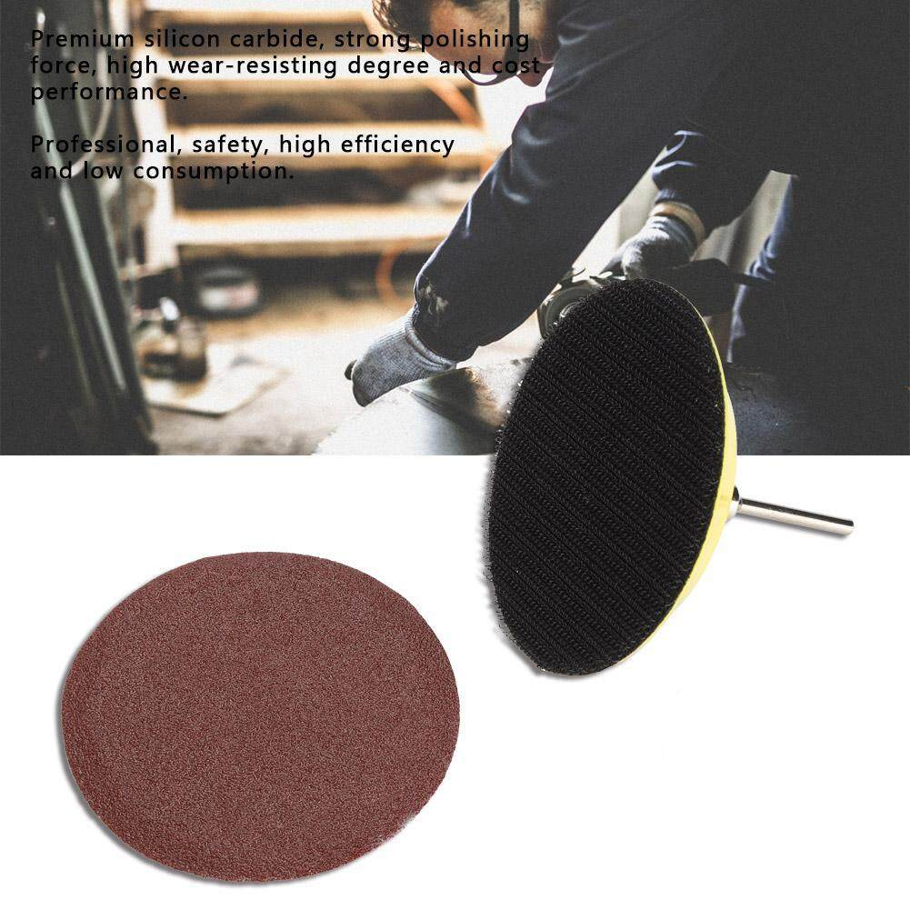 【time-Limited Promotions】3-Inch Round Shape Red Sanding Discs Grinding Sand Papers With Sticky Backing Pad 60pcs By Lfinger.
