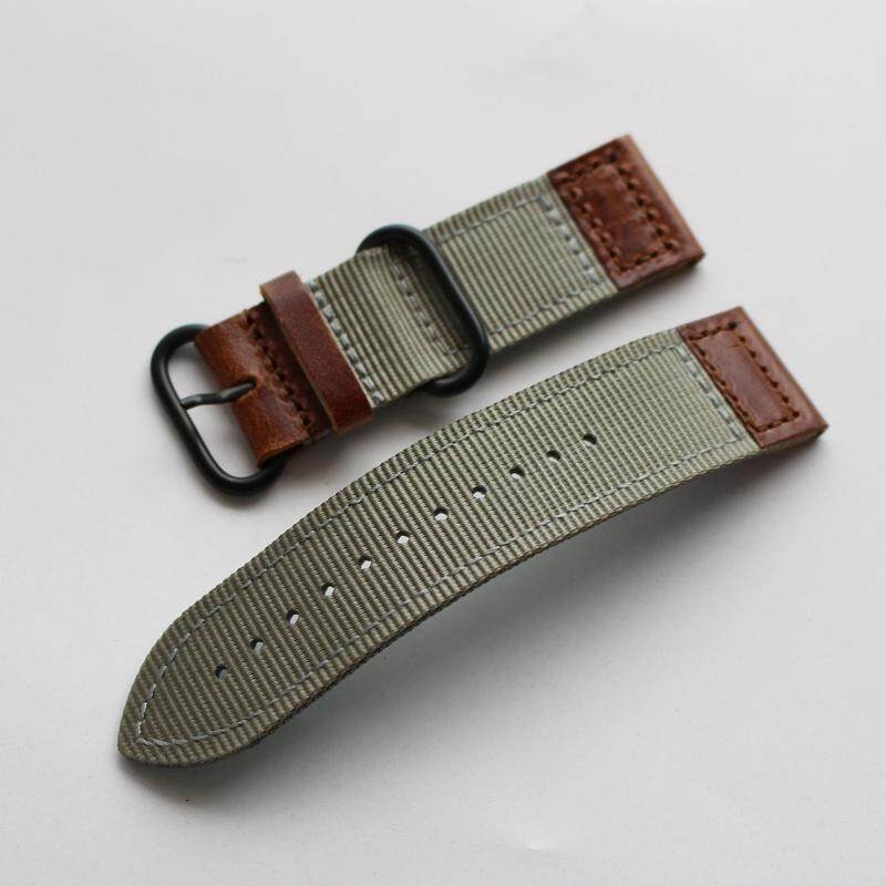 Adaptation Outdoor Army Style Watch Strap Summer Breathable Nylon + Genuine Leather 18 Natural 20 22 24 Mm Sports Mens Watch Strap Malaysia