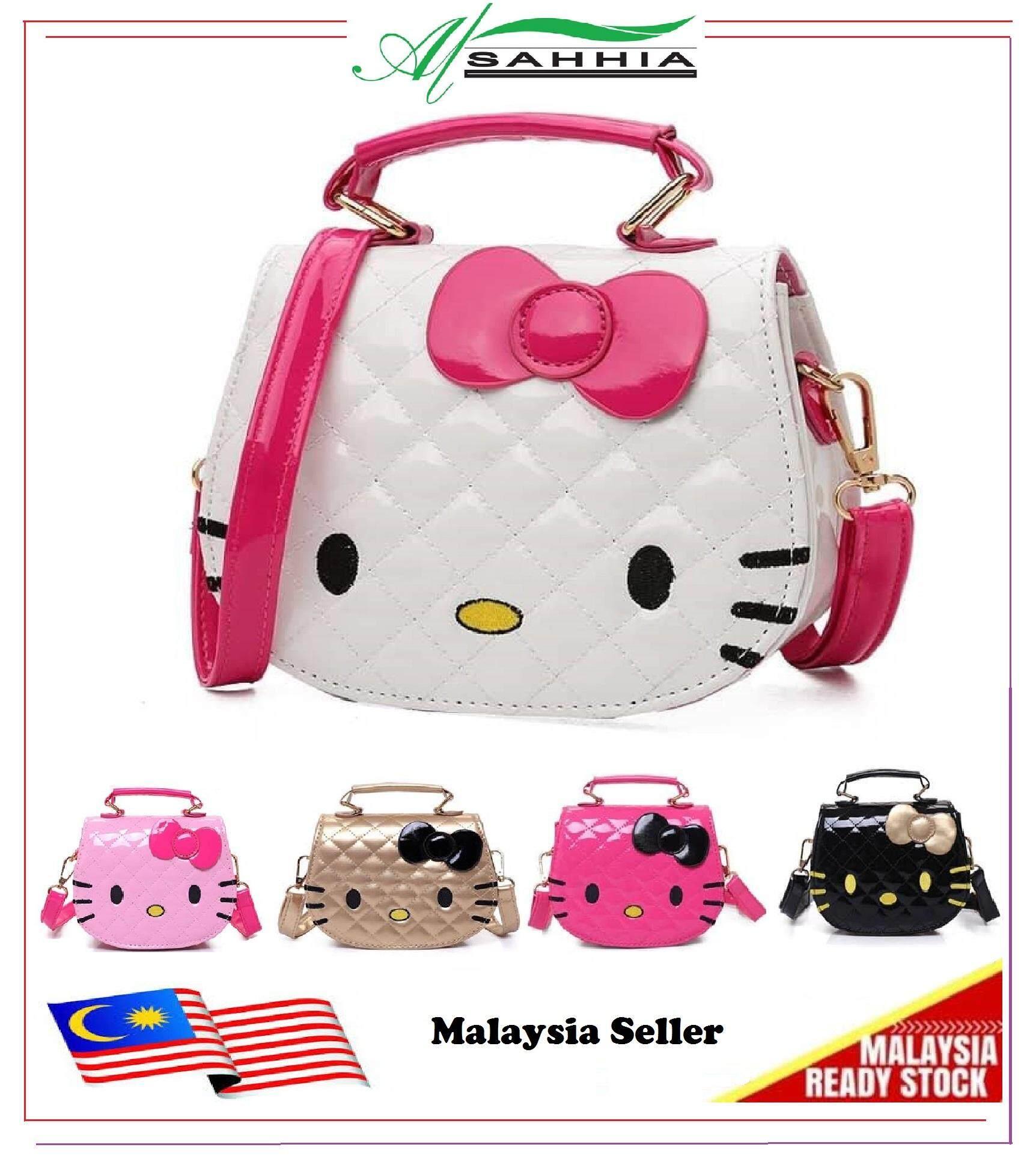 37c861ee44 Al Sahhia Ready Stock Kawaii Cute Pretty Bow Hello Kitty PU Handbag Kid  Girls Bag Sling