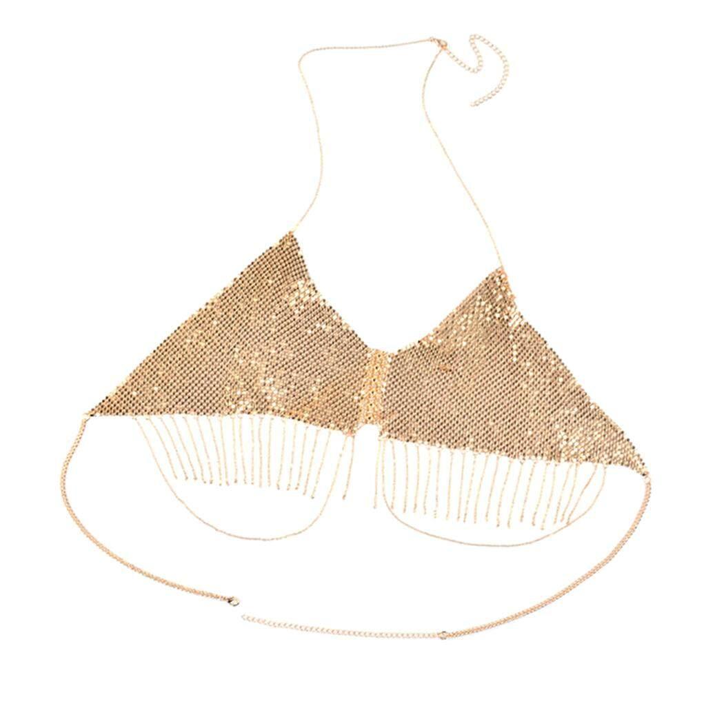 Bolehdeals Sequin Triangle Tassel Dangle Bikini Body Dress Bra Top Harness Charms Summer Lady Girls Body Jewelry By Bolehdeals.