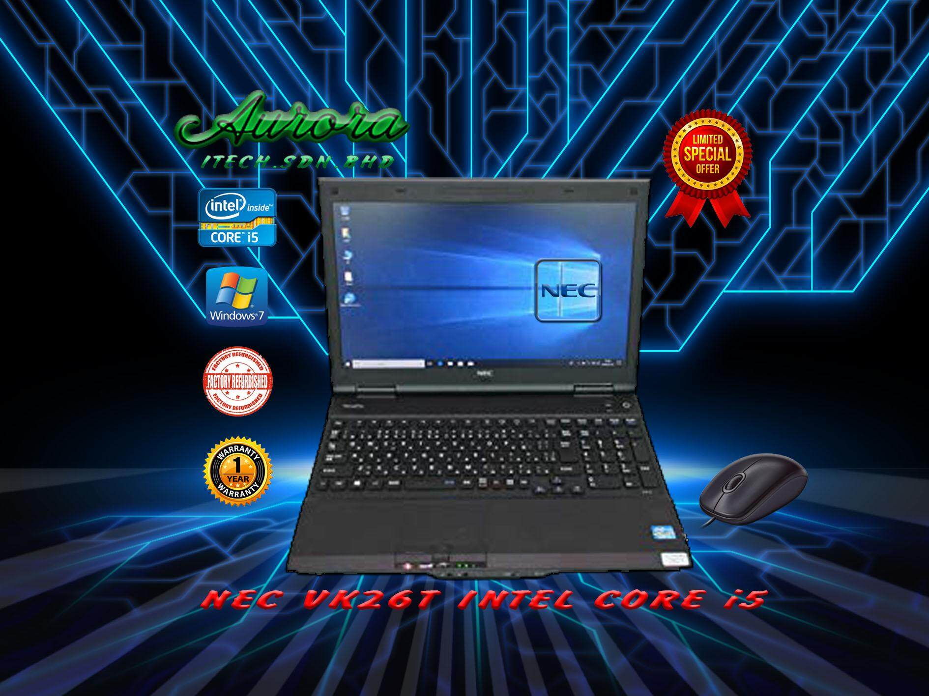 (REFURBISHED)NEC VersaPro VK26T / Intel® Core™ i5-3320M processor / 4 GB DDR3 RAM / 128 GB SATA SSD / 15.6- INCH LCD / 1 YearWarranty,Free Mouse Malaysia
