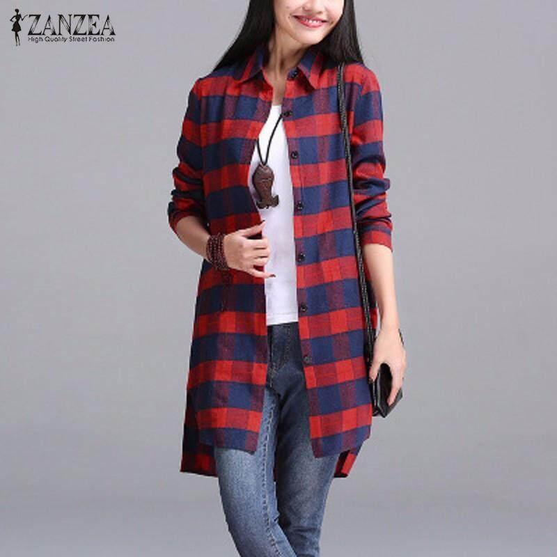 6e91c4c135f ZANZEA Women Autumn Plaid Shirts Lapel Long Sleeve Asymmetrical Split Blouses  Loose Casual Blusas Tops Oversized
