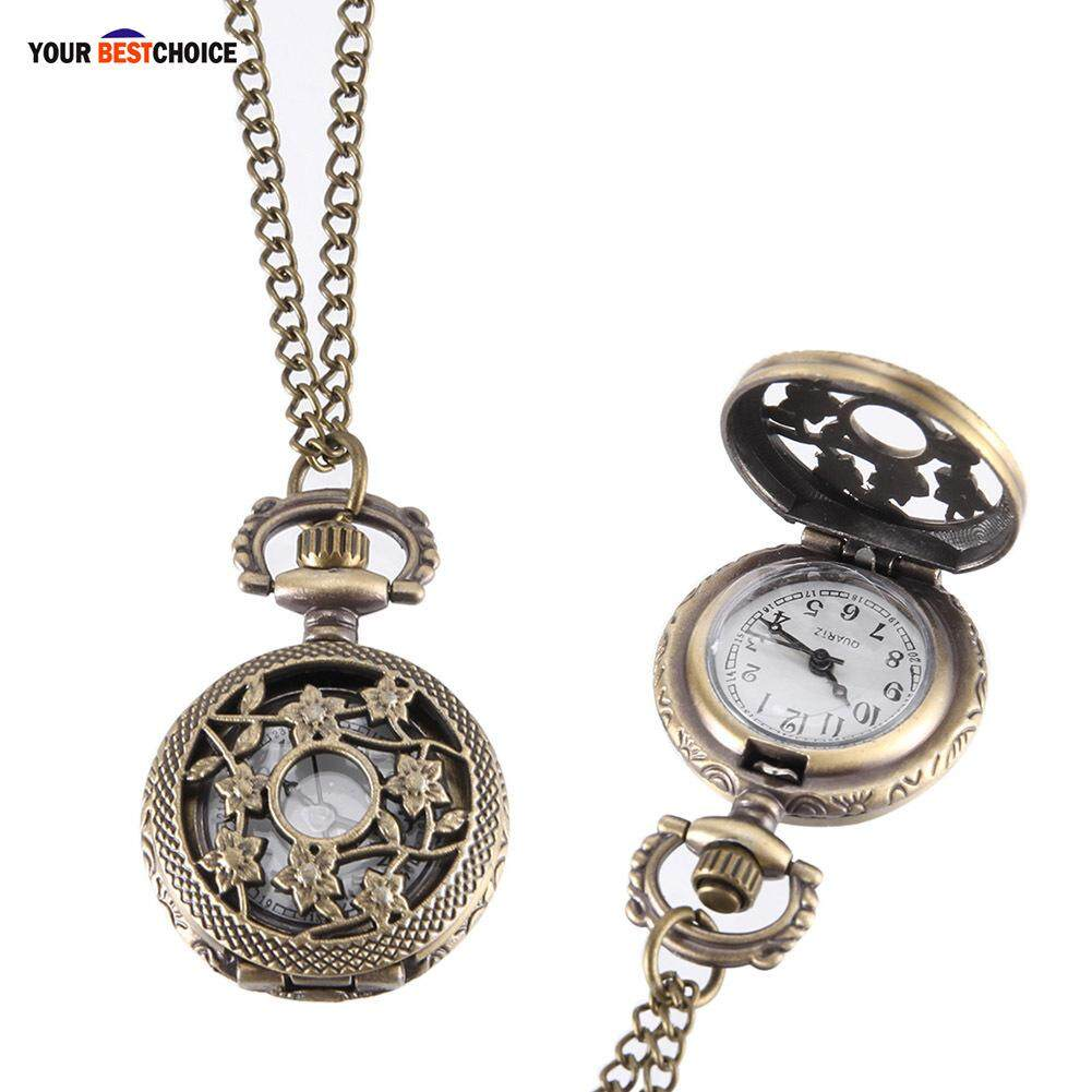 YBC Vintage Pocket Watch Bronze Color Quartz Watch Cool Chain Hollow Vine Watches Malaysia