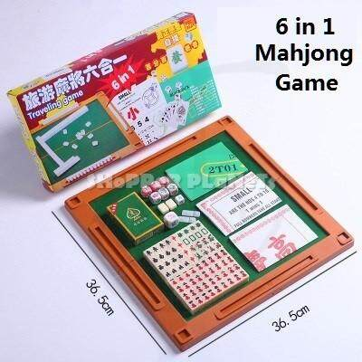 Travel Mahjong Table Board Game Portable 6 in 1