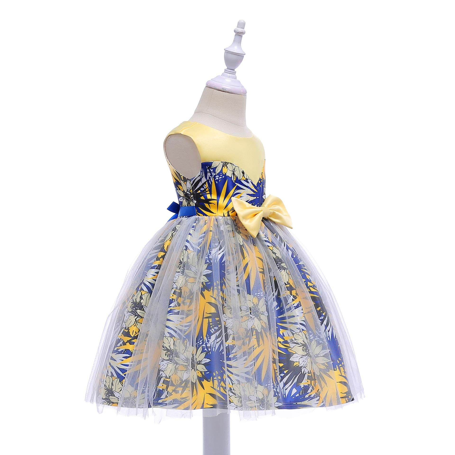 98cdca17eddf Hot Sale European and American Lace Sleeveless Bow Princess Printing Dress  for Girls Formal Wedding Party