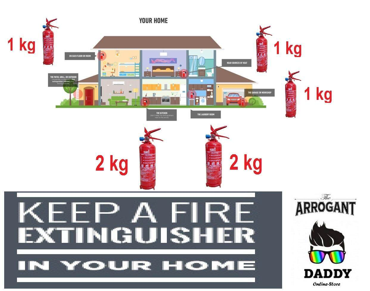 Essential Home Fire Extinguisher Rescue Pack Full Set with Branded Fire extinguisher(SIRIM and ISO Approved)