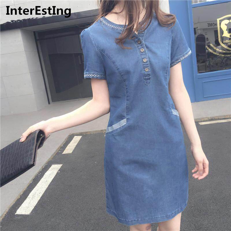 f621c098b11 Female Denim Dresses Summer Short Sleeve Slim Dress Jeans Midi Patchwork  A-line Dress Korean