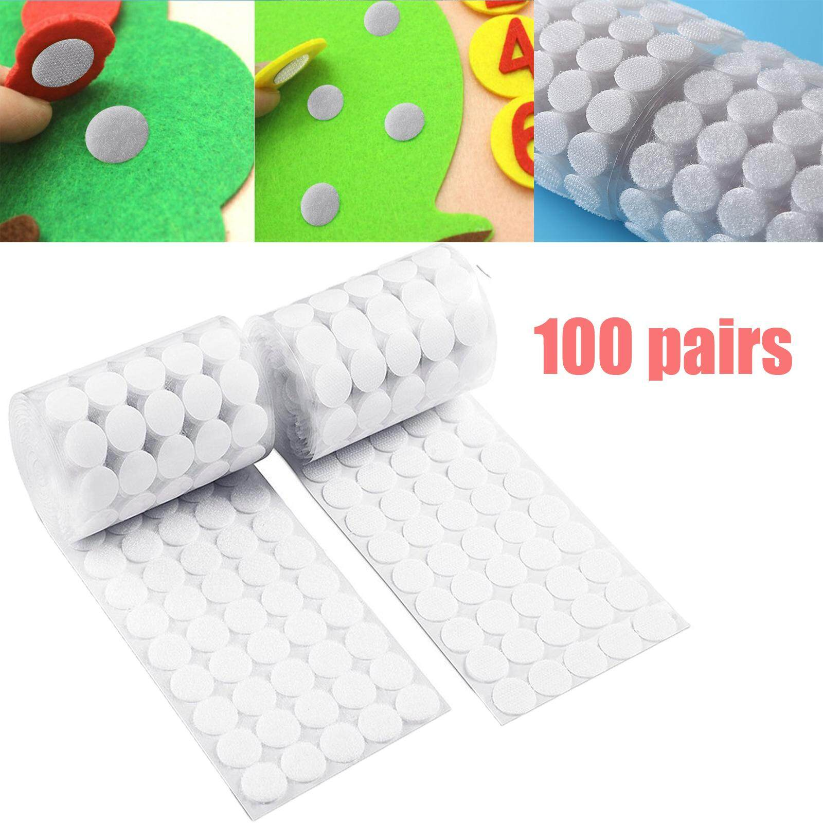 100 Pairs Self Adhesive Sticky Back Hook & Loop Fastening Tape Dots Dia 20mm