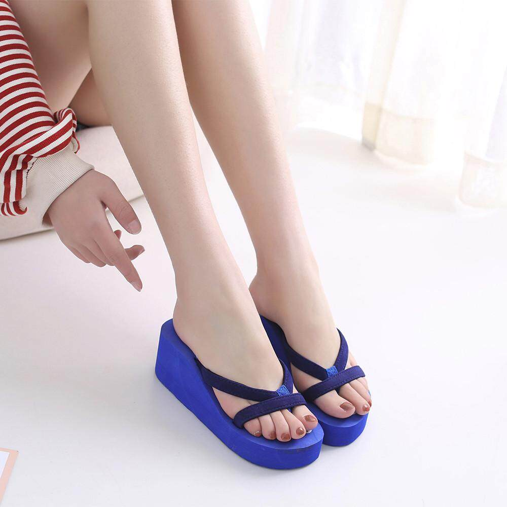 d2473cf33ac6a Inesshop Women s Summer Fashion Slipper Flip Flops Beach Wedge Thick Sole  Heeled Shoes