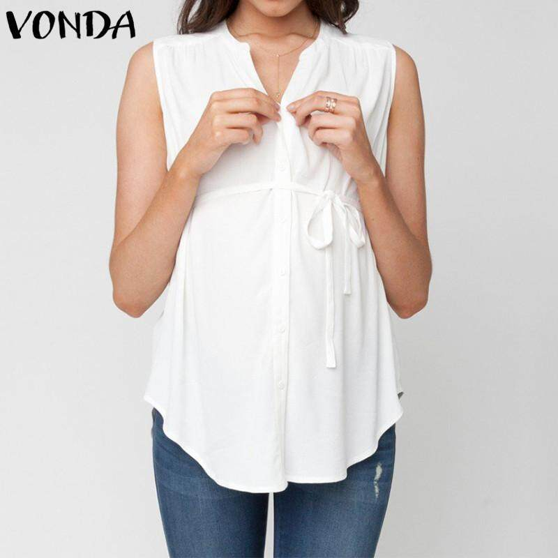 Vonda Summer Women Maternity Tank Tops Sleeveless Buttons Soft Pregnancy Shirt By Vonda Official Store.
