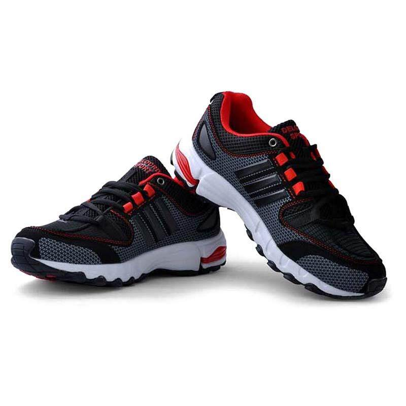 DELOCRD Mens Retro sports shoes Wearable running shoes Black+Red 42