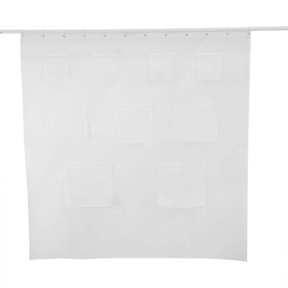 Epayst Transparent Shower Curtain With Pockets Bathroom Waterproof Peva Bath Curtain By Epayst.