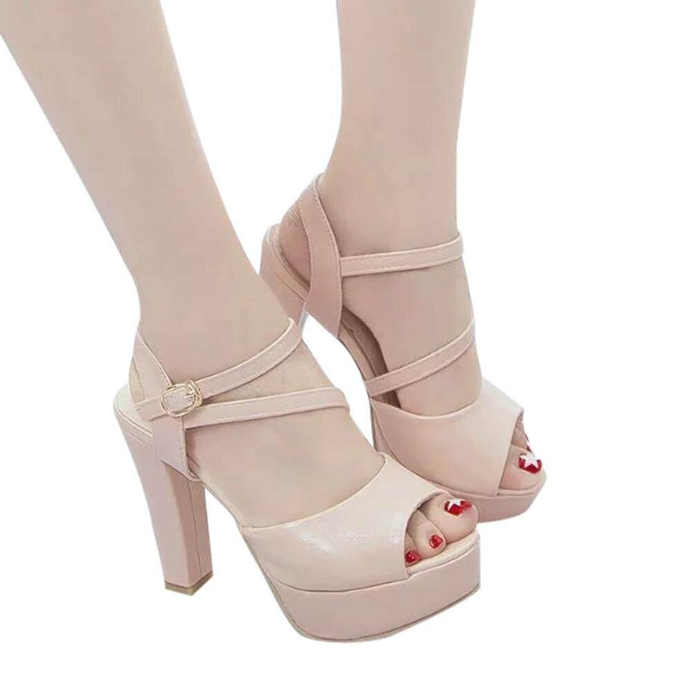Teresastore Women Solid Peep Toe Hollow Out Thin Heels Sandals High Heeled Shoes Dark By Teresastore.